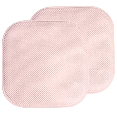 Sweet Home Collection 16x16 Memory Foam Chair Pad/Seat Cushion Pairs with Non-Slip Backing - 16 X 16 Pink Set of 2 Indoor-Outdoor, Lounge, Non Slip: Home & Kitchen
