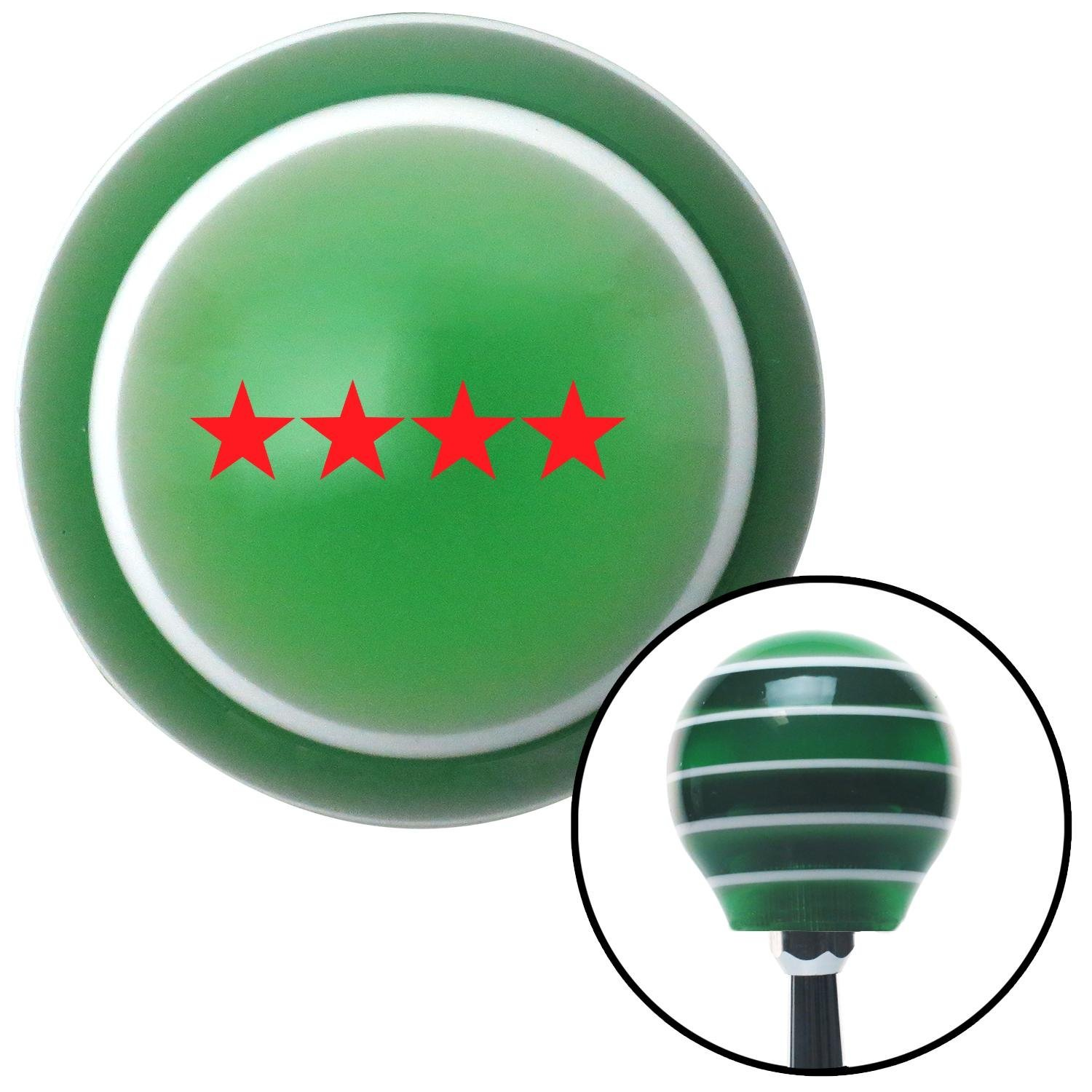 Red Officer 10 - Admiral American Shifter 124926 Green Stripe Shift Knob with M16 x 1.5 Insert