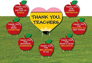 product image for Big Dot of Happiness Teacher Appreciation - First and Last Day of School Yard Sign and Outdoor Lawn Decorations - Thank You Teachers Yard Signs - Set of 8