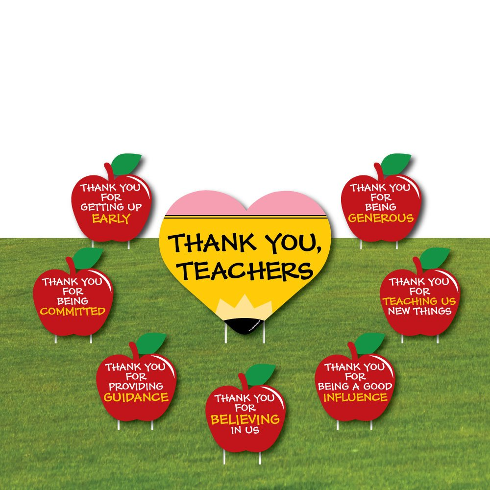Teacher Appreciation - Back to School Yard Sign & Outdoor Lawn Decorations - Thank You Teachers Yard Signs - Set of 8