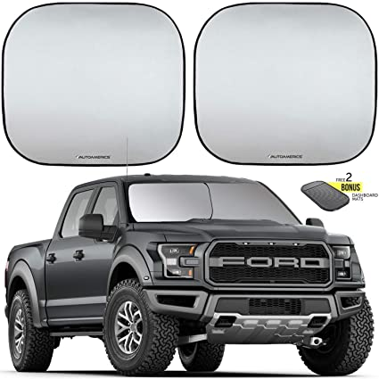 Autoamerics Windshield Sun Shade 2-Piece Foldable Car Front Window Sunshade  for Full Size SUV Truck Tesla - Auto Sun Blocker Visor Protector Blocks Max  UV ... 8980af44fa5