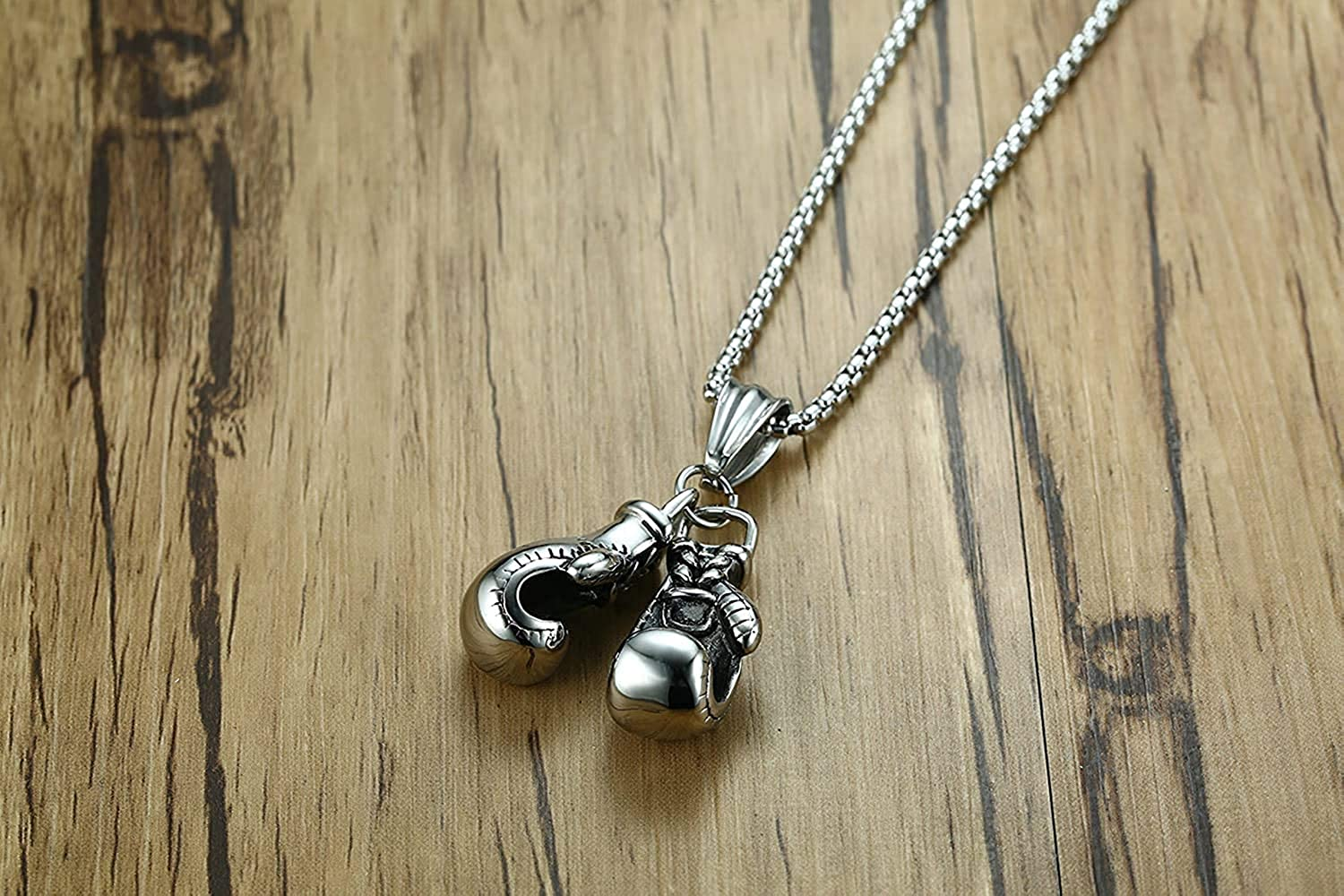 LOPEZ KENT Jewelry Men Stainless Steel Necklace Pendants Boxing Glvoes Pendant