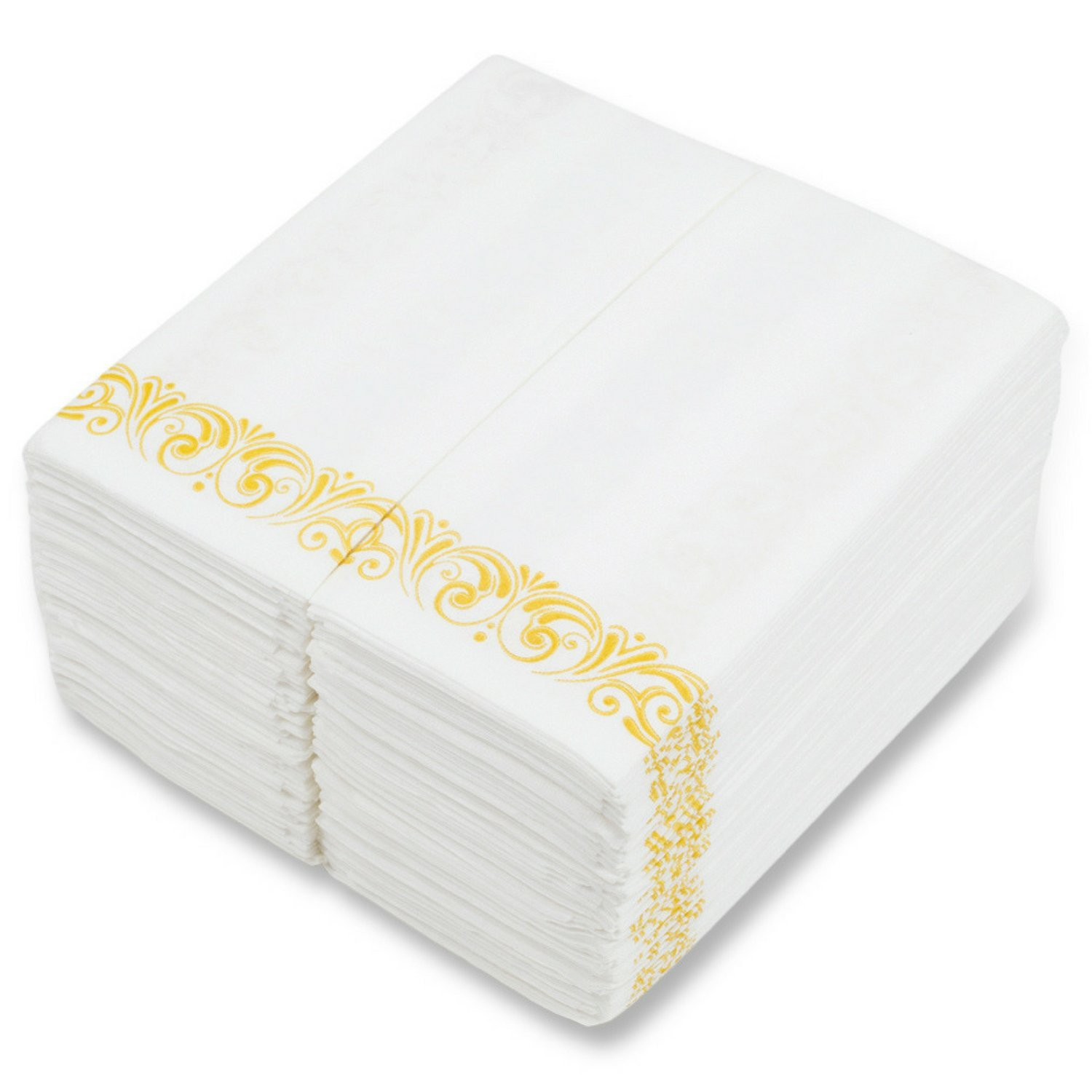 MOCKO Disposable Hand Napkins 17x12'' 100 Pack | Soft & Absorbent Towels With Gold Floral Decoration | Air-Laid Linen Paper | For Wedding, Bathroom Guests, Kitchen, Birthday Parties, Powder Room & More