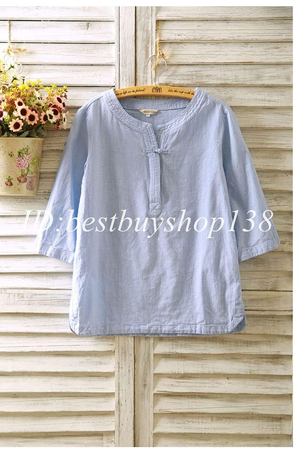 5e81d17f499 Amazon.com  FidgetGear Women Vintage Flax 3 4 Sleeve V Neck Cotton Linen  Loose Tunic Shirt Top Blouse  Clothing