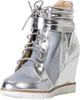 Bella Marie Anna Shoes Women's Metro-15 Patent Mesh Wedge Fashion Sneaker