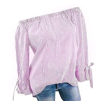 8d4b997d79b95c Amazon.com  Women Blouse Daoroka Ladies Plus Size Long Sleeve Off Shoulder  Stripe Sexy Cute Tops Fashion Autumn T Shirts Clearance  Cell Phones   ...