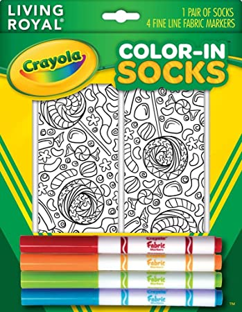 1932a4b103 Buy Crayola Color-In Socks with 1 Pair of Socks and 4 Fabric Markers -  Candy Design Online at Low Prices in India - Amazon.in