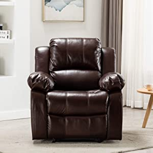 PovKeever Manaul Recliner Chair-Air Leather Recliner Chair-Overstuffed Faux Leather Home Theater Seating-Single Reclining Sofa for Living Room and Bedroom(Brown)
