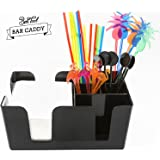 Trendy Bartender Bar Caddy - 6 Compartments Fully Equipped - BAR SUPPLIES INCLUDED - All Set n Ready To Go - Napkins, Straws, Drink Stirrers Inside Box - Heavy Duty Refillable Bar Organizer - Black