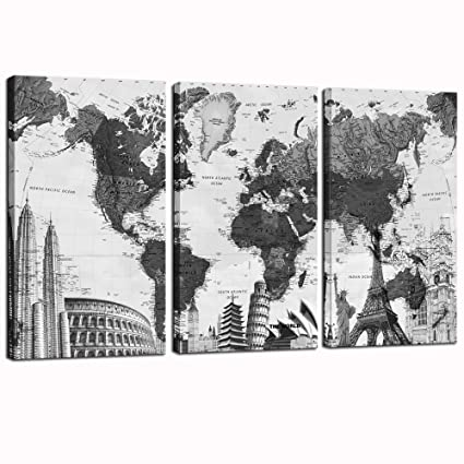 Amazoncom Sea Charm Large Piece Canvas Wall Art Map With - Map of the world poster black and white