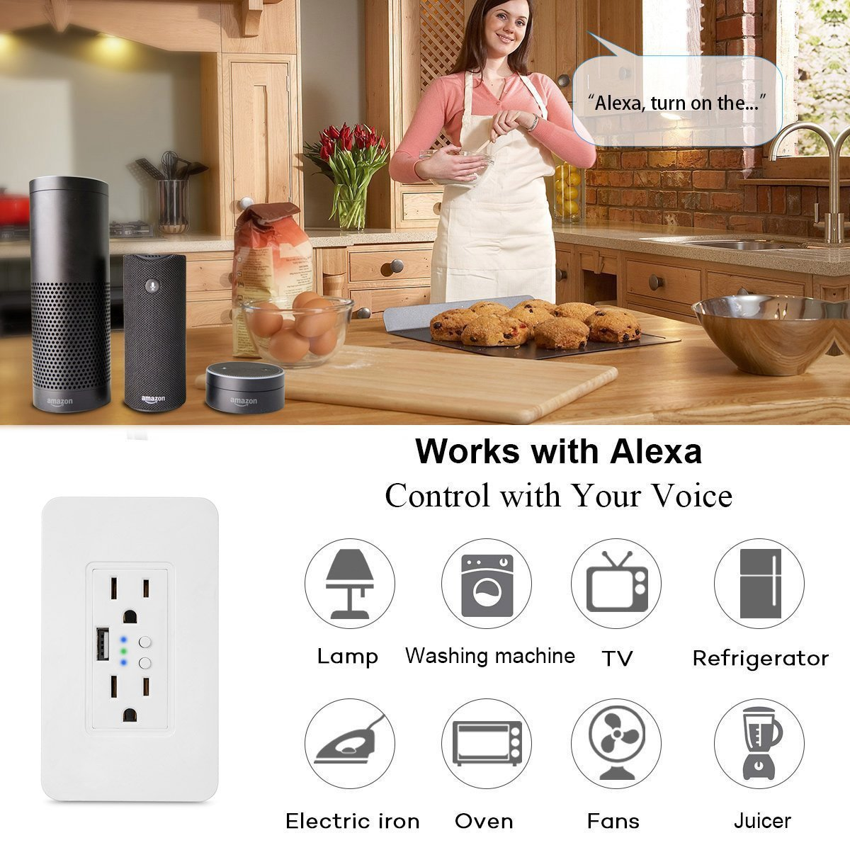Smart WiFi High Speed USB Charger/USB Charger Wall Outlet (2.0A-5VDC) Dual Outlet Receptacle - Independently Remote Control Duplex Outlet 15A, Wireless Voice Control and Timer Switch with Scheduling by Alysontech (Image #9)