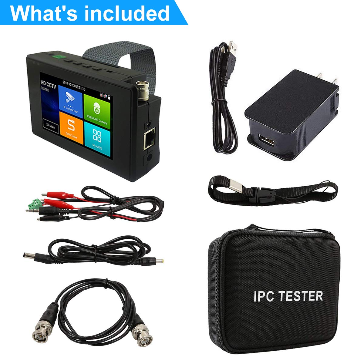 4K 5 in 1 IP Camera Tester, IP/TVI/CVI/AHD/CVBS Camera Monitor Test, 4 inch Monitor Touch Screen, POE/IP Discovery/Rapid ONVIF/Camera Test Report, 1800ADH-Plus CCTV Tester by AP Security (Image #6)