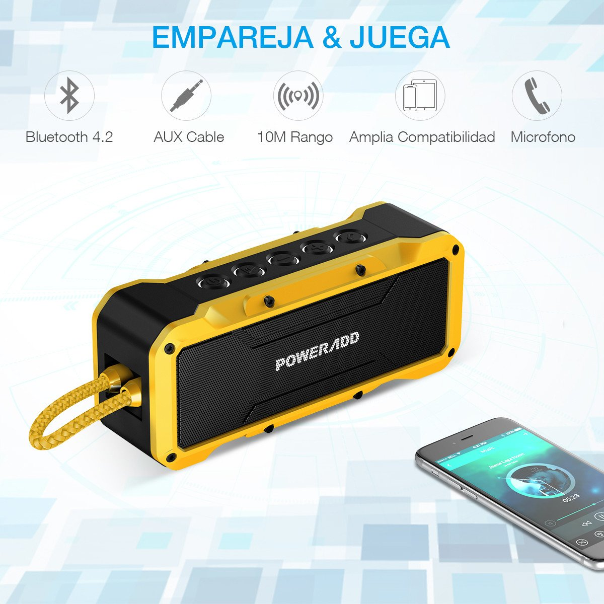 Poweradd MusicFly Altavoz Bluetooth Portátil con Impermeable IPX7,Antigolpes,Resisdente a Arena, Sonido Potente de 36W, Bluetooth 4.2 Con Aux Cable, Amarillo-Negro