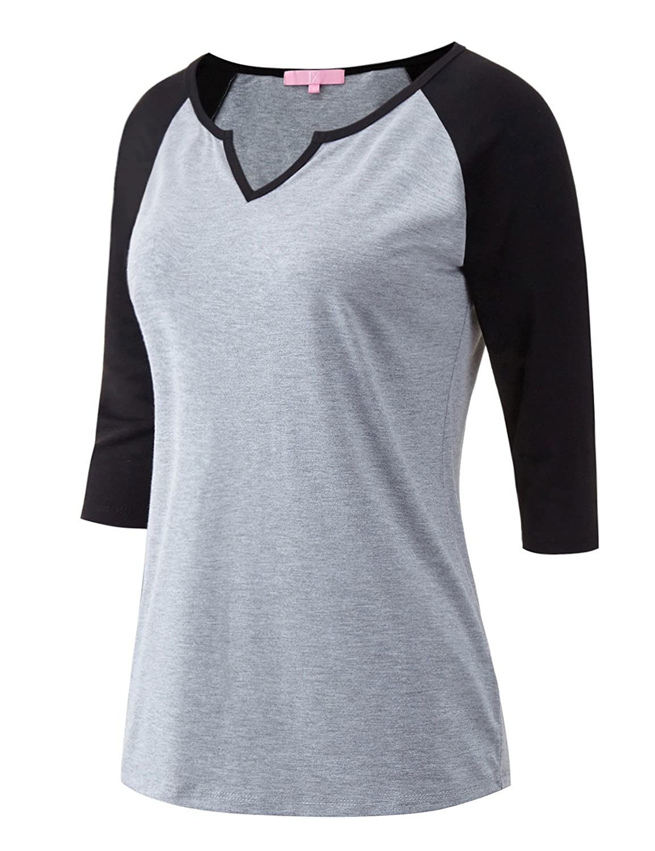 Regna X Womens 3 4 Sleeve Raglan Baseball Casual T-Shirts S-3X, Plus Sizes