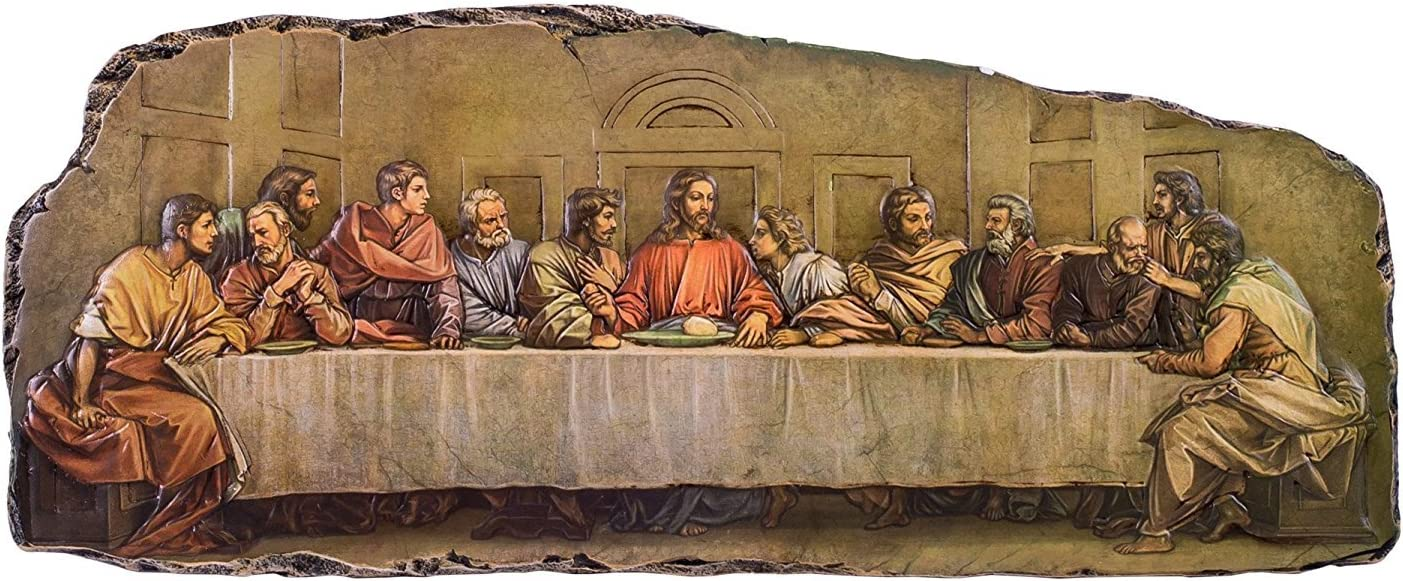 Amazon.com: The Last Supper placa de pared de piedra de ...