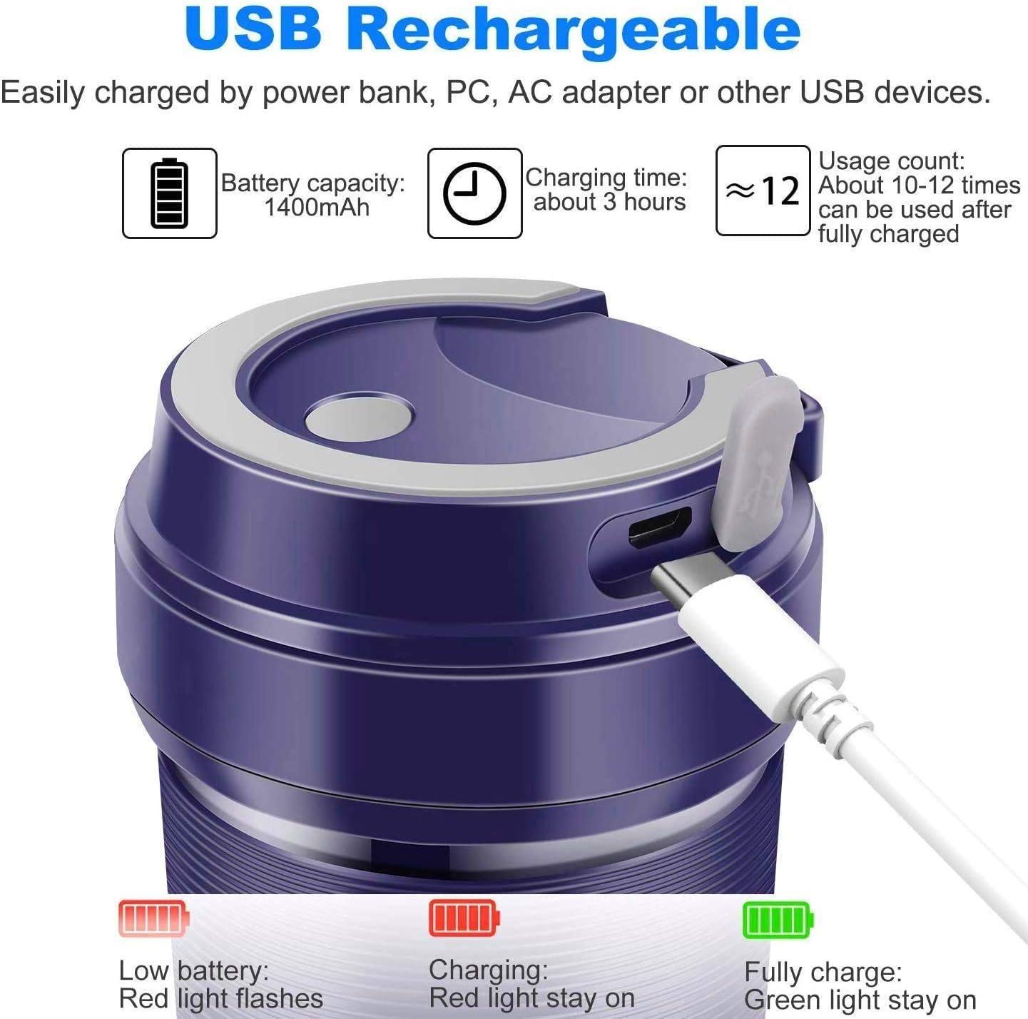 POWERGIANT Licuadora Portátil USB Recargable, 300ml Mini Taza De Jugo, Mezclador de Frutas Smoothie Maker para el hogar, la Oficina, los Deportes, Certificado FDA/BPA: Amazon.es
