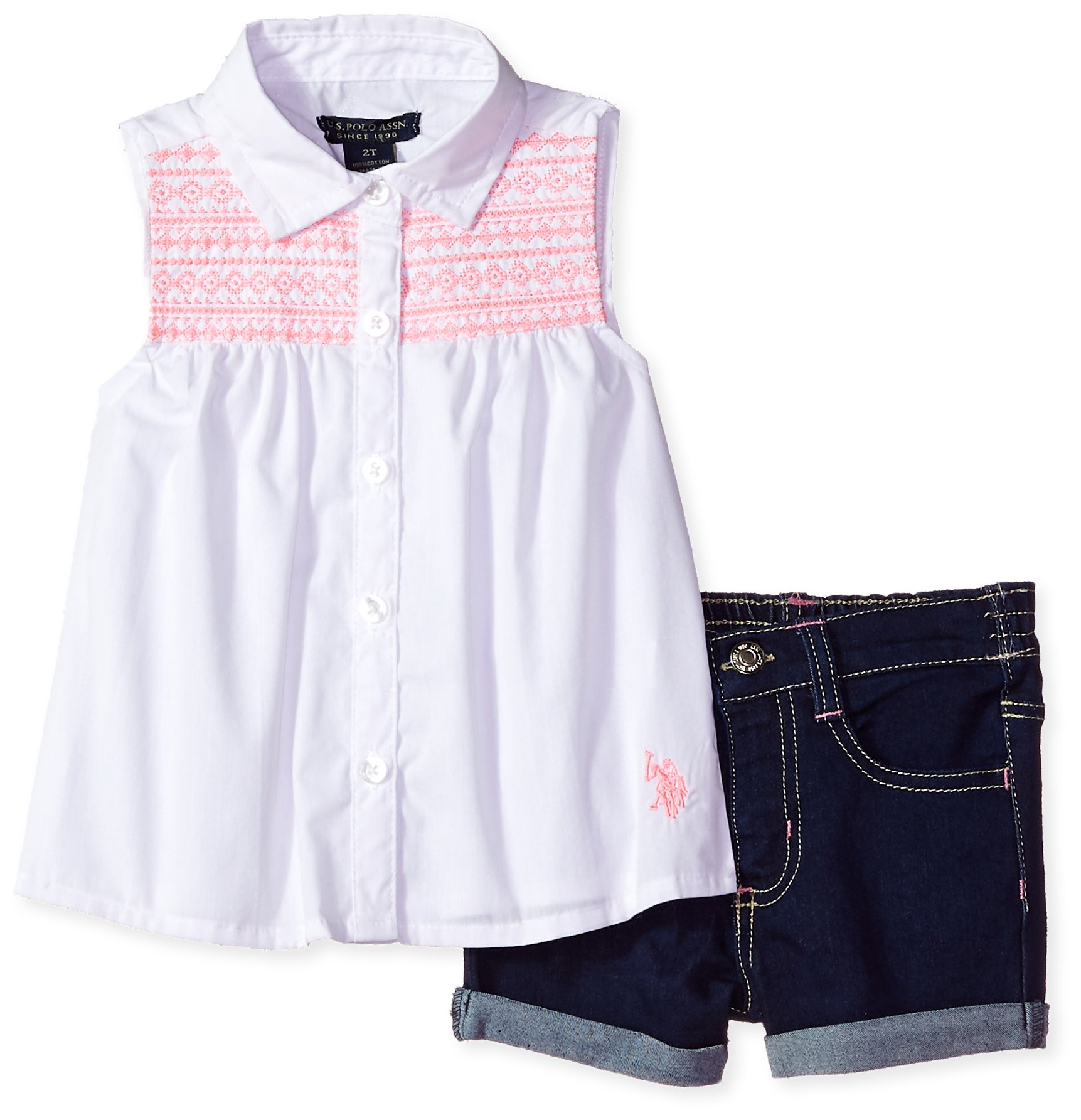 U.S. Polo Assn.. Toddler Girls' Fashion Top and Short Set, Sleeveless Button Front Pink Embro Denim Short White, 4T
