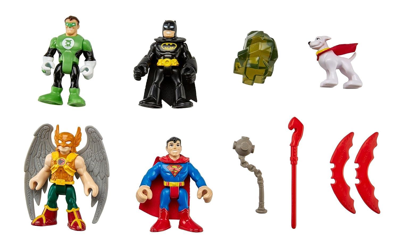 Fisher-Price Imaginext DC Comics Super Friends - Juego de figuras de superhéroes (Batman, Superman, Hombre Halcón, Linterna Verde y Krypto, el superperro): ...