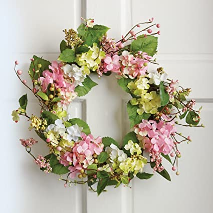 Collections Etc Spring Floral Hydrangea Door Wreath