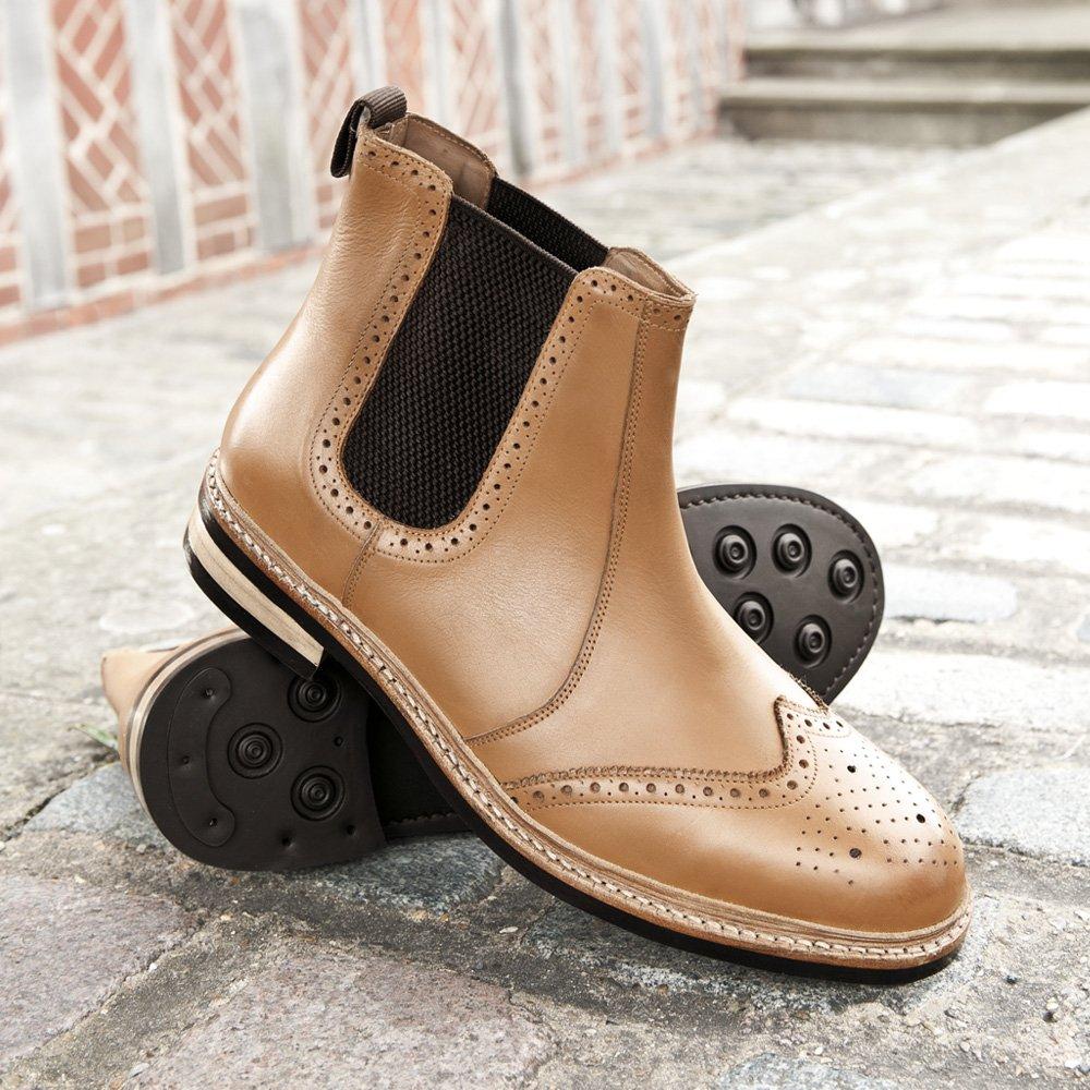 9340e36d276 Samuel Windsor Men's Handmade Goodyear Welted Rubber Sole Italian Leather  Tan Chelsea Brogue Dealer Boot