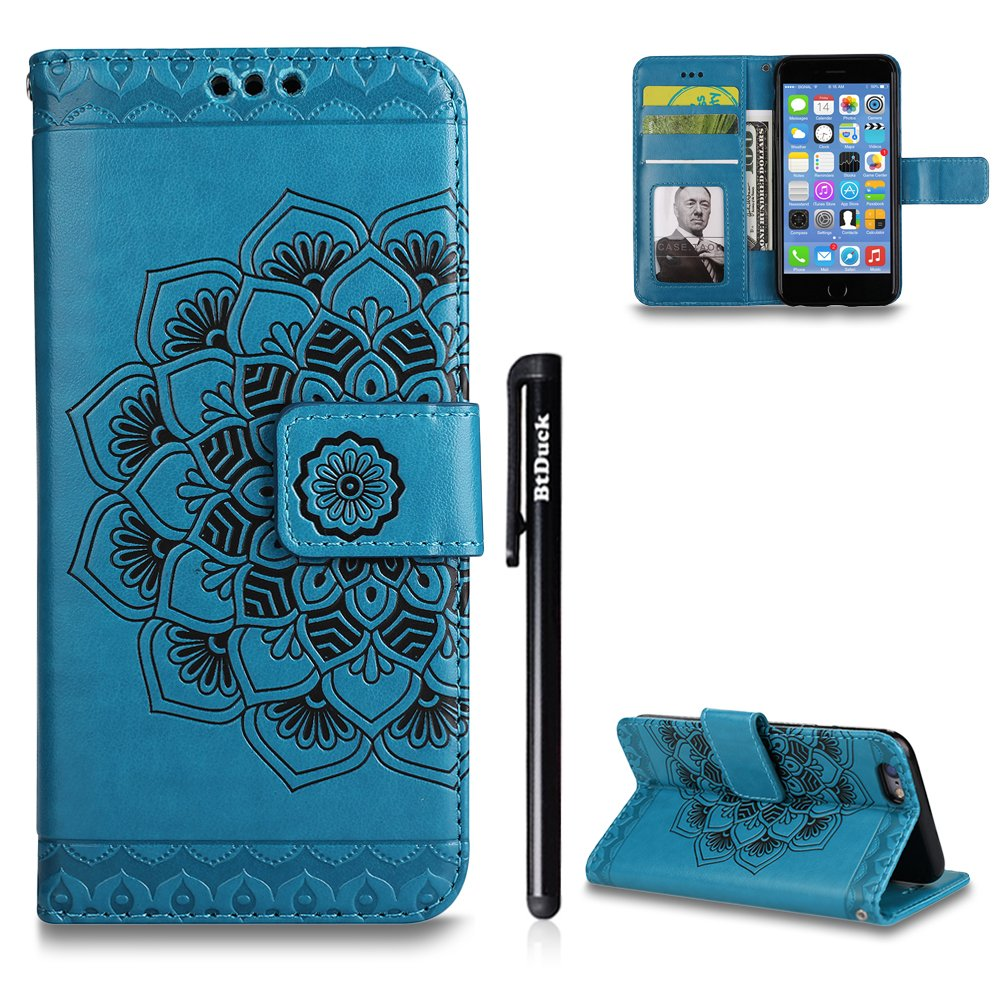 Case for iPhone 6 plus/6S plus, BtDuck Leather Wallet Case For iPhone 6 plus/6S plus, Emboss Mysterious Mandala Stand Flip Leather Magnetic Clear Case With Cards Holder Blue Gold Green Purple Rose Gold Gray Black Rose Red Packing listing: 1 x iPhone 6 plus