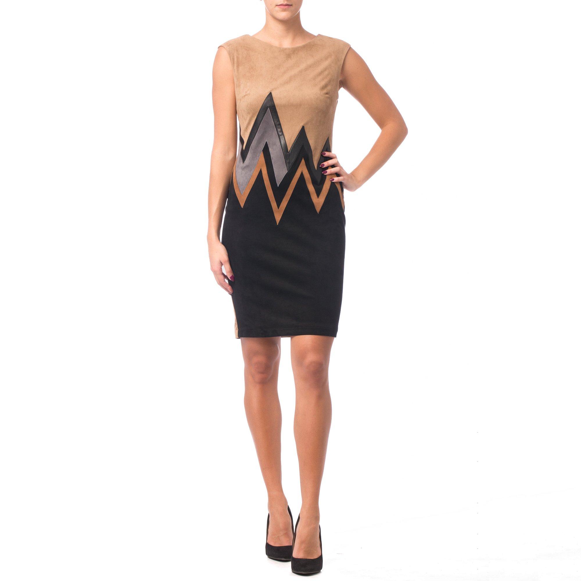 Joseph Ribkoff Beige & Black Faux Suede Zig Zag Pattern Dress Style 164445 (4)