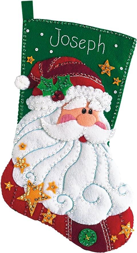 Bucilla Christmas Stocking Kits.Dimensions Jolly Santa Wool Felt Christmas Stocking Kit 18 H