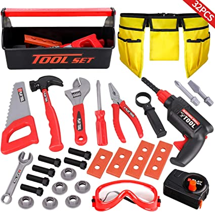 Toy Kids Black Decker Deluxe Tool Set w// Toolbox Gift Play Children New Fast Sh