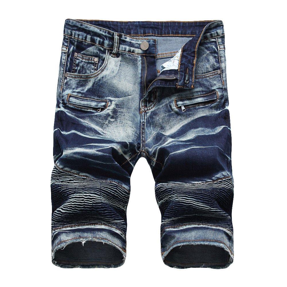 Rikay Jeans Mens Shorts Raw Combat Cargo Pockets Casual Knee Length Denim Pants Size 28-42 Prime