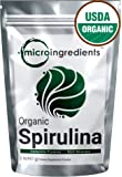 Micro Ingredients USDA Organic Spirulina Powder, 2 lbs, Best Superfood Rich Vitamins & Minerals, Non-Irradiated, Non-Contaminated