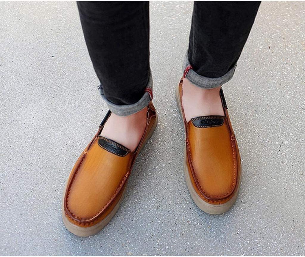 Color : Red-Brown, Size : 46 EU zxcvb Mens Leather Shoes Classic Leather Loafers Luxury Business Shoes All Seasons Wearing Size 39-47