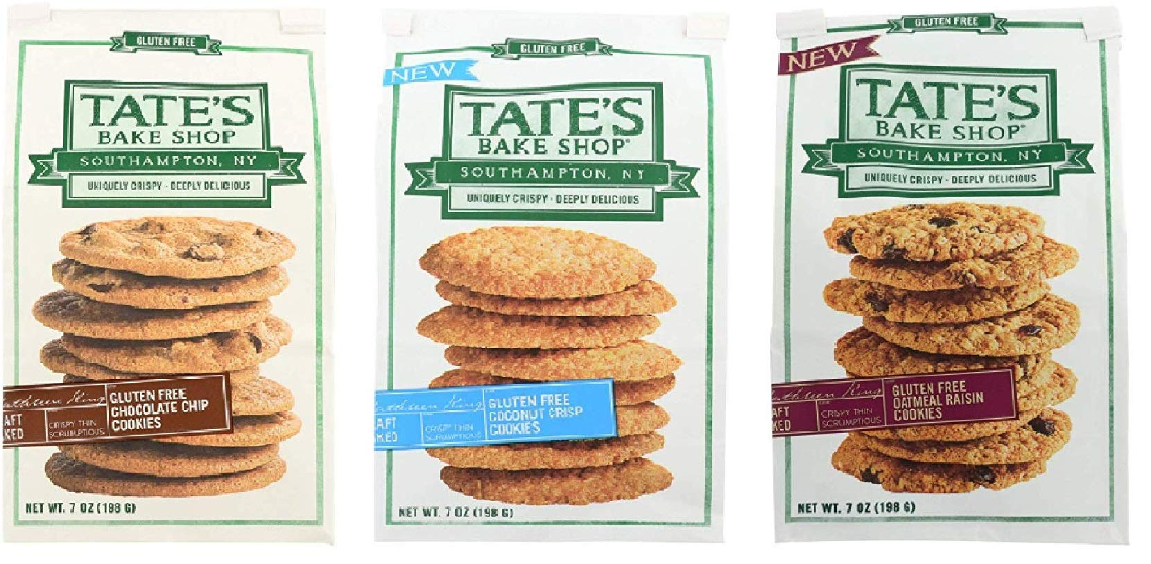 Tate's Gluten Free Cookies 3 Flavor Variety Bundle: (1) Tate's Chocolate Chip Cookies, (1) Tate's Coconut Crisp Cookies, & (1) Tate's Oatmeal Raisin Cookies, 7 oz ea by Tate's Bake Shop