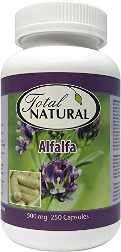 Natural Alfalfa Supplement 500mg 250 Capsules 1 Bottle by Total Natural, Premium Wild Harvest Alfalfa Tablets for Regulating Cholesterol, Acid-Base Balance