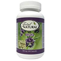Natural Alfalfa Supplement 500mg 250 Capsules [2 Bottles] by Total Natural, Rich in Vitamins & Trace Minerals, Promotes Energy & Vitality, Promotes Digestive Health