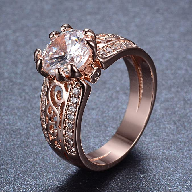 Junxin Top 10 KT Rose Gold Plated Ring,Women and Man Wedding Engagement Promise Rings,Three Stone rings to Show You Unlimited Beauty and Self confidence Size 9