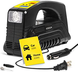 Kensun Model J Tire Inflator AC/DC for Car 12V DC and Home 110V AC Portable Air Compressor Pump for Car, and Other Inflatables