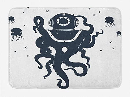 YnimioHOB Estera de baño de Tatuaje náutico Vintage, Pulpo Medusas ...