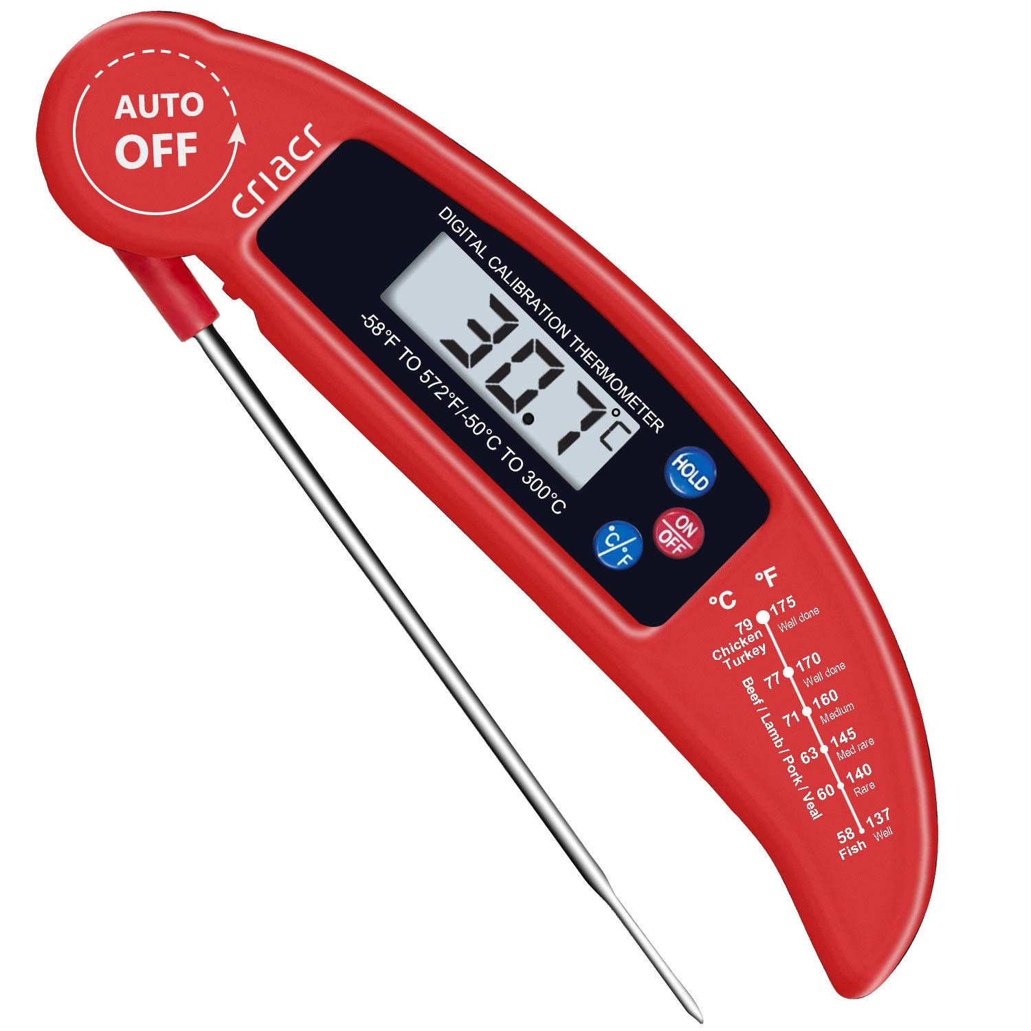 Criacr Food Thermometer, Digital Instant Read Candy/Meat Thermometer with Probe for Kitchen Cooking, BBQ, Poultry, Grill, Foldable, Fast & Auto On/Off, Black, Battery Not Included AMIR