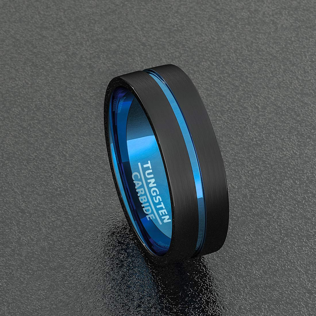Duke Collections Mens Wedding Band Black Rose Gold Tungsten Ring Brushed Surface Center Step Edge 8mm Comfort Fit