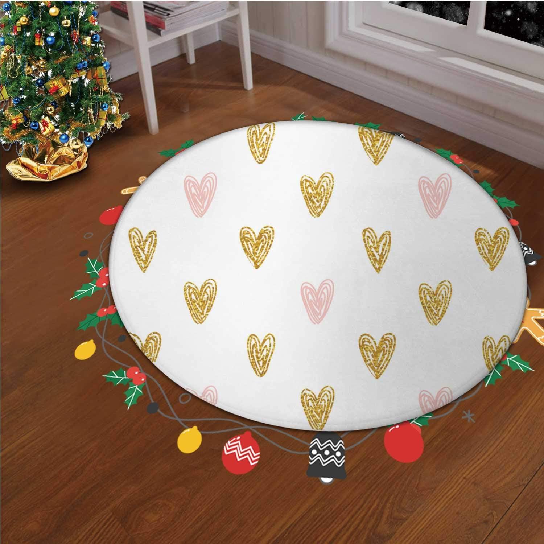 Seamless Polka Dot Gold Hearts Pattern Vector Christmas Throw Runner Rug Non Slip Backing Floor Carpet for Living Room Modern Accent Home Decor,okjeff26602o,4.26 ft
