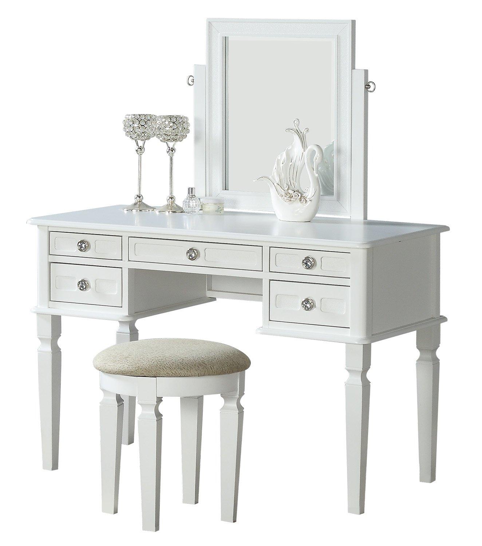 BOBKONA F4181 Vanity Table with Stool Set White