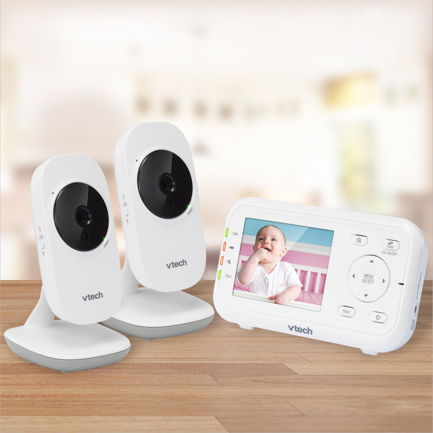 VTech VM3252-2 Digital Video Baby Monitor with 2.8 LCD 2 Cameras and Automatic Night Vision, 1 Count, White