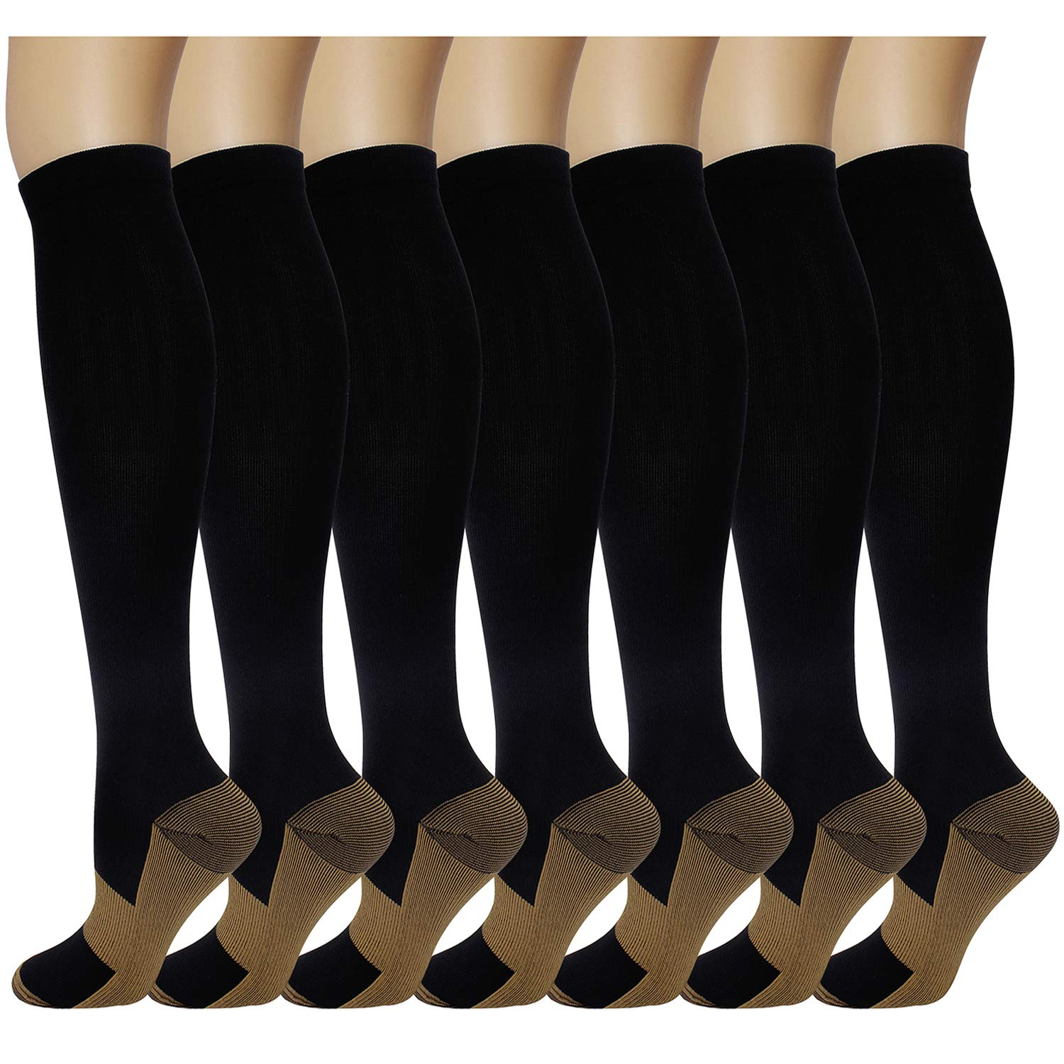 7 Pairs Copper Compression Socks for Men Women 20-30 mmHg Knee High Stockings for Athletic Nurse Sports Travel Medical Pregnancy