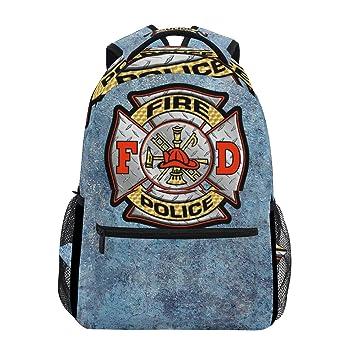 Amazon.com   Firefighter Fire DEPT. Logo Backpack College School Book Bag  Large Daypack   Kids  Backpacks a2a46fe765