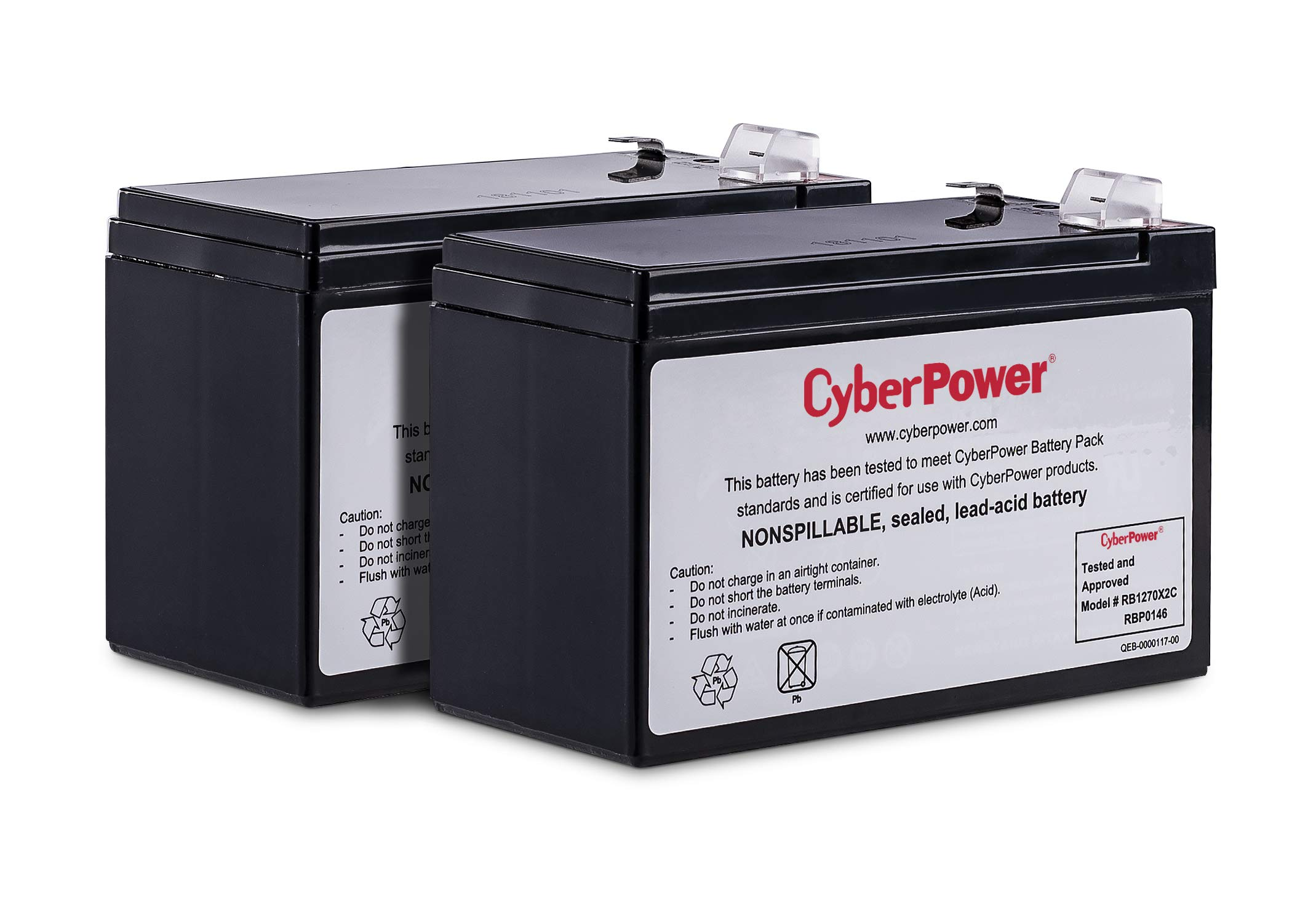 CyberPower RB1270X2C UPS Replacement Battery Cartridge, 12V/7Ah