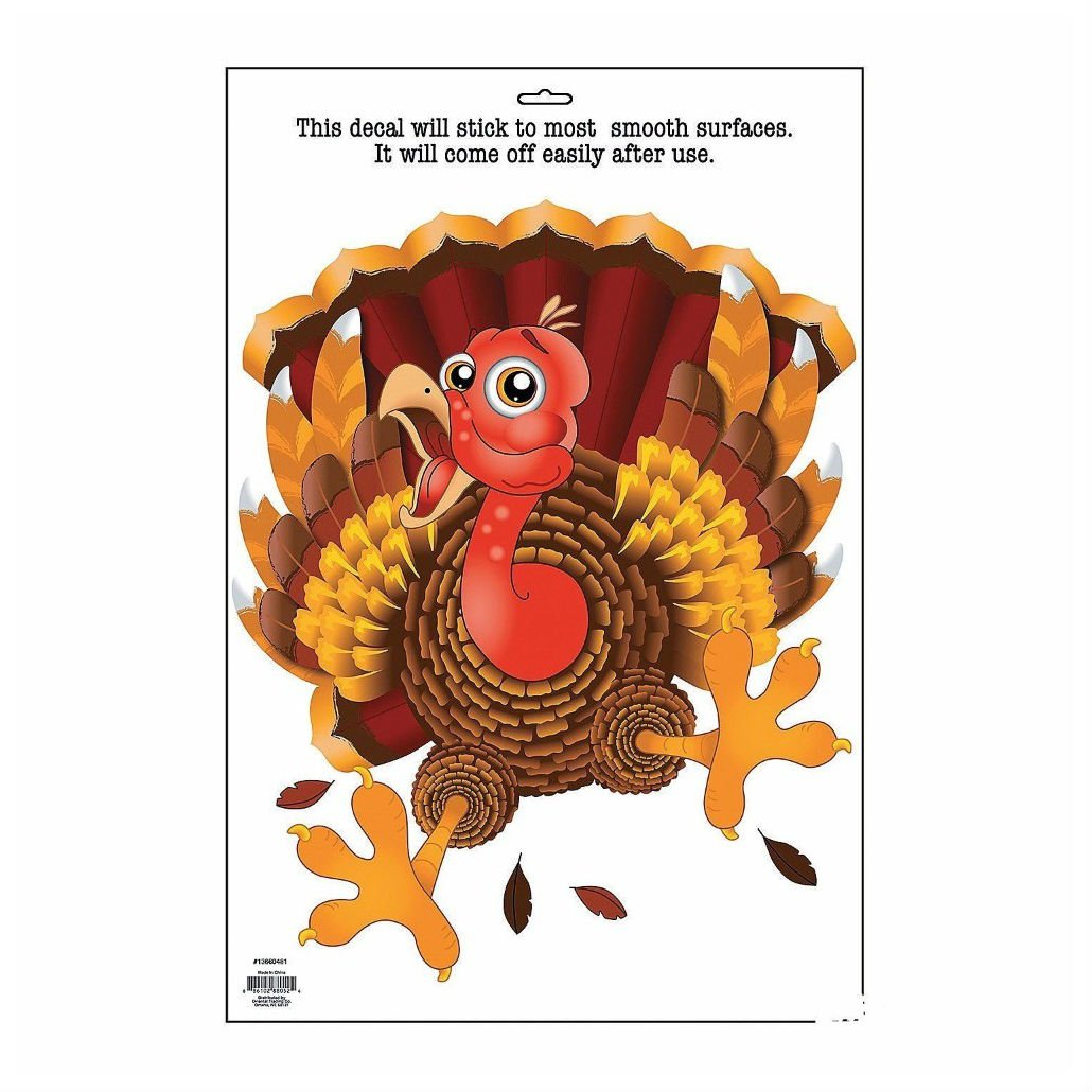 Vinyl Wacky Turkey Window Cling-Thanksgiving Fall Decorations home decor NOT APPLICABLE