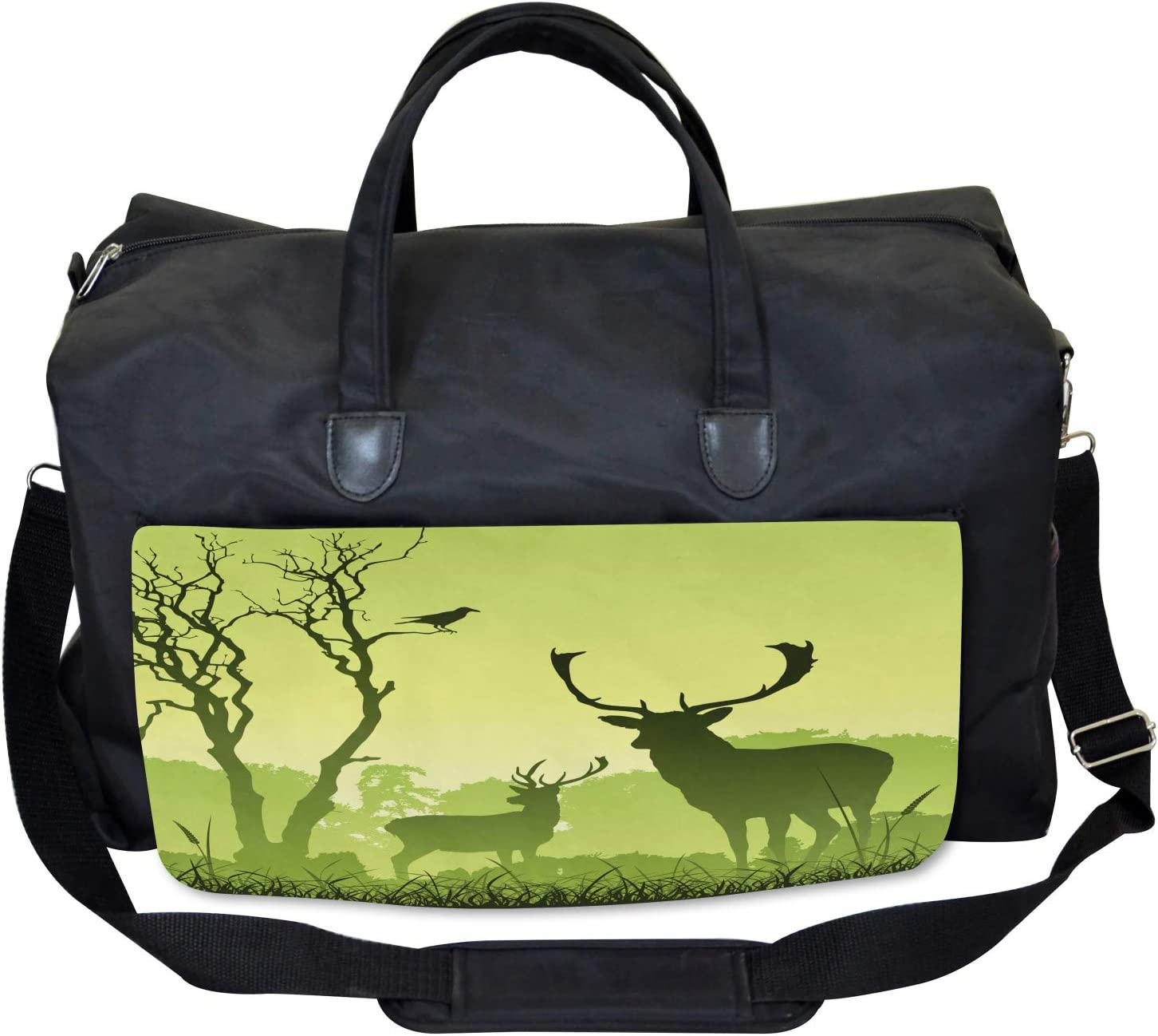 Ambesonne Green Gym Bag Large Weekender Carry-on Deer Trees and Crow Bird