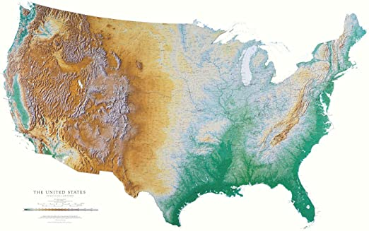 Terrain Map Of Usa Amazon.com: United States Topographic Wall Map by Raven Maps