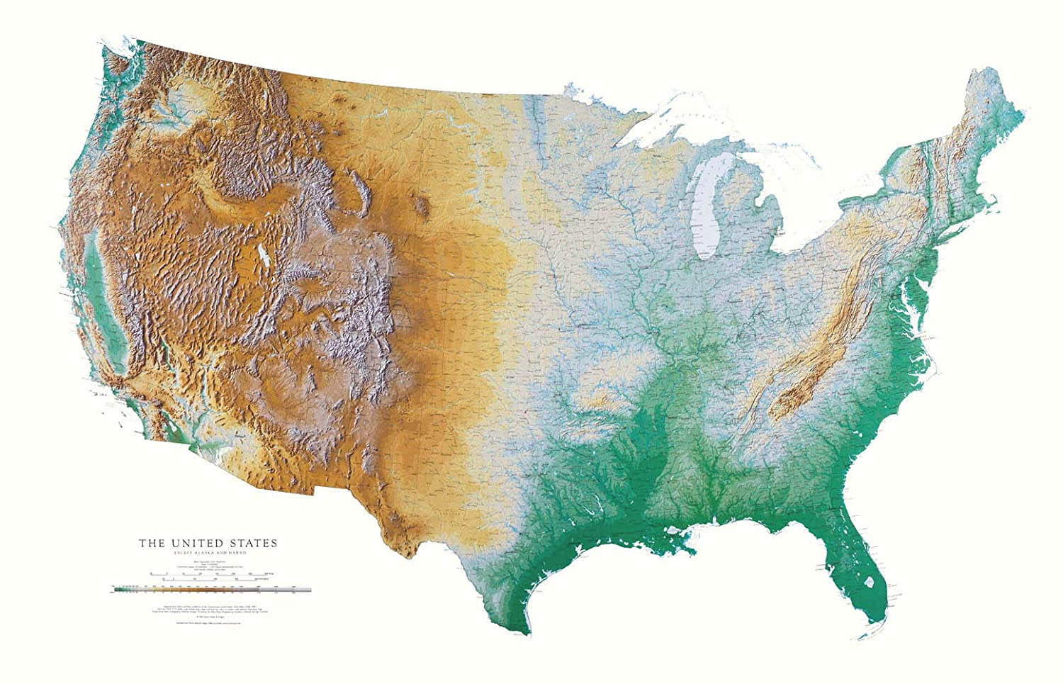 United States Map Topographic.Amazon Com United States Topographic Wall Map By Raven Maps