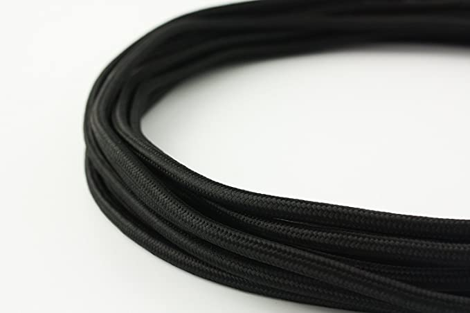 Glitz Braided Wire 2 core .75mm copper multistand Black color 20Mtrs